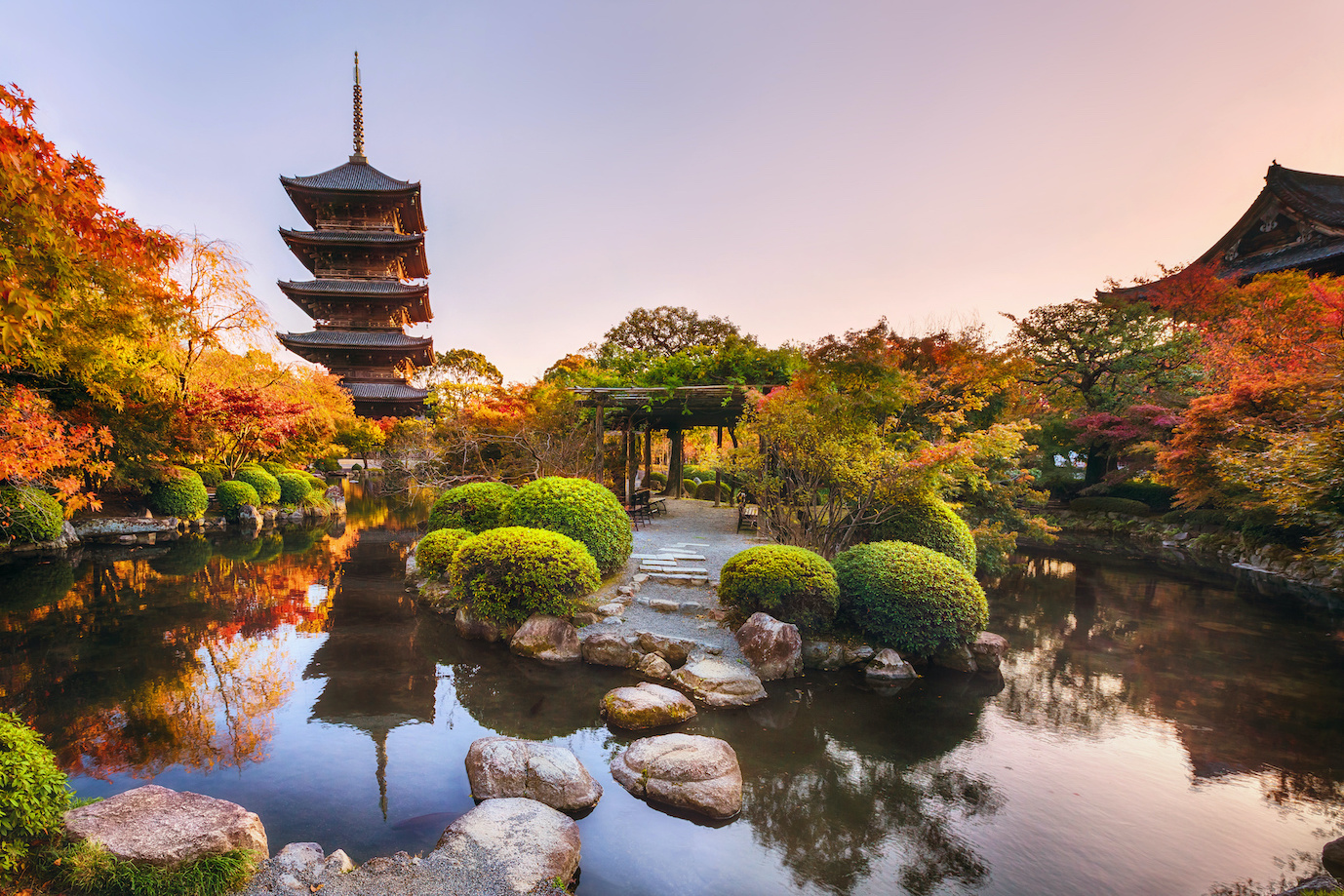 Ancient pagoda Toji temple in autumn garden, Kyoto, Japan. Tallest wooden pagoda in Japan and Unesco world heritage site.