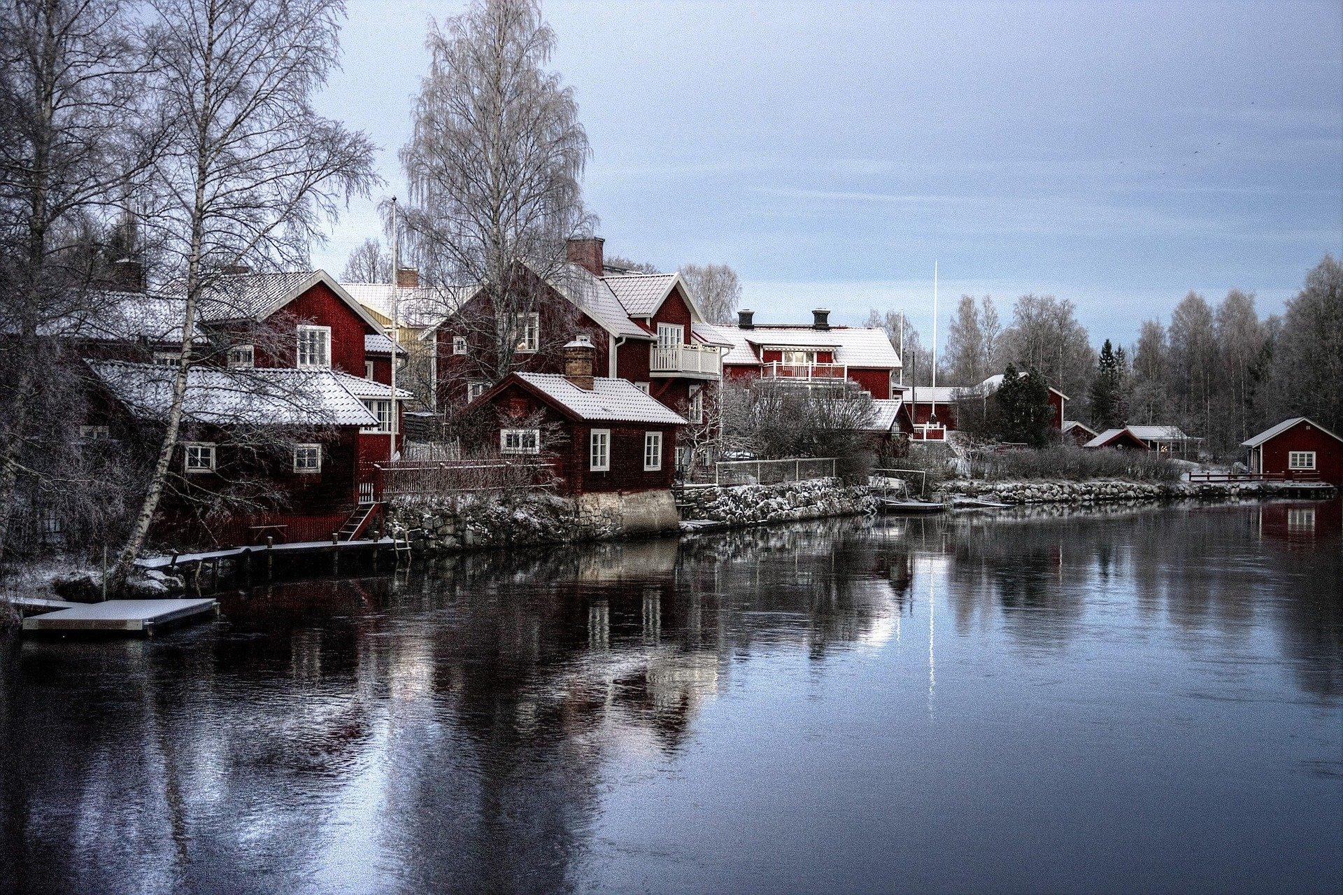 village rouge en Laponie Suédoise